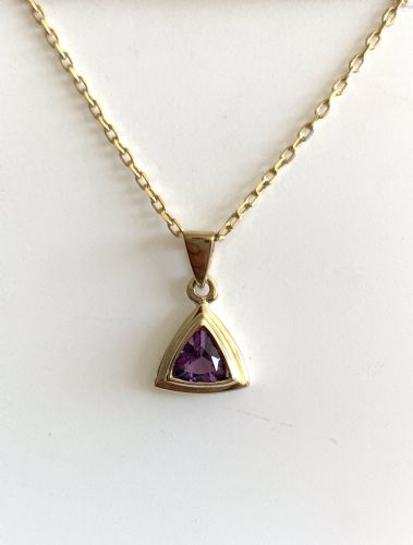 Amethyst Yellow Gold Triangle Purple Necklace GP5-499RA